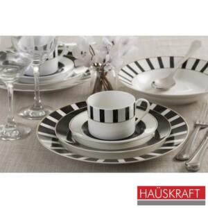 Aparelho de Jantar 30 Peças Julie Haüskraft de Porcelana Branca e Preta