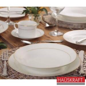 Aparelho de Jantar 30 Peças Sophie Haüskraft de Porcelana Branca e Dourado