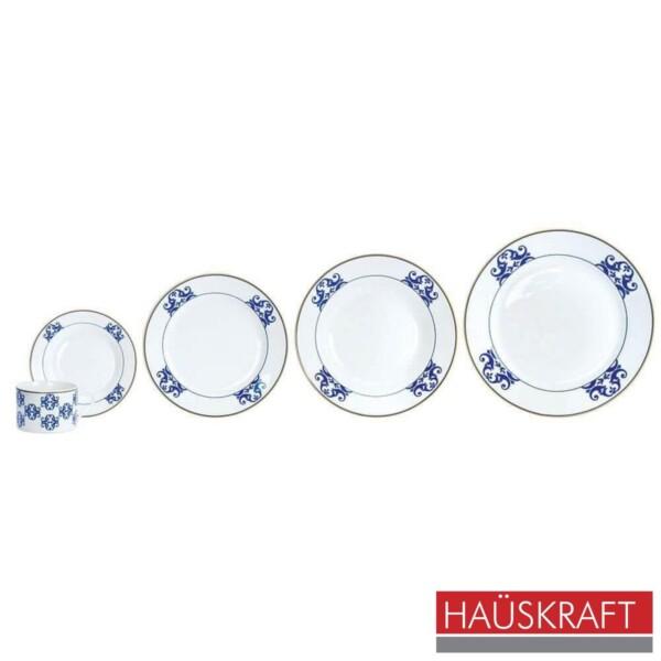 Aparelho de Jantar 30 Peças Valentine Haüskraft de Porcelana Branca e Azul