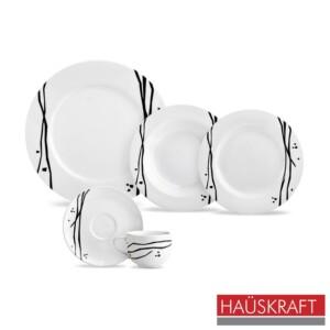 Aparelho de Jantar 20 Peças Oriental Haüskraft de Porcelana Branca e Preta