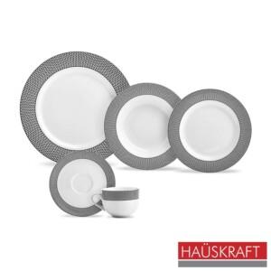 Aparelho de Jantar 20 Peças Geometric Haüskraft de Porcelana Branca e Preta