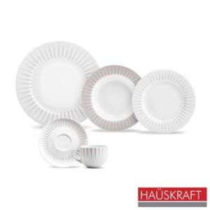Aparelho de Jantar 20 Peças Minimalista Haüskraft de Porcelana Branca e Cinza