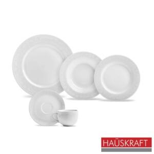 Aparelho de Jantar 20 Peças Haüskraft de Porcelana Branca Classic