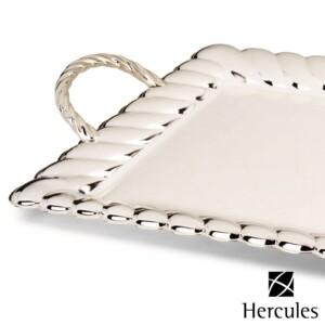 Bandeja Retangular 54cm com Alças Hercules de Prata