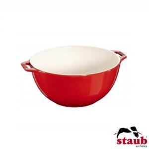 Bowl com Alças Staub Ceramic 18cm Cereja