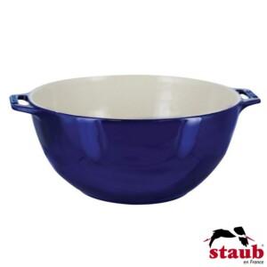 Bowl com Alças Staub Ceramic 25cm Azul Marinho