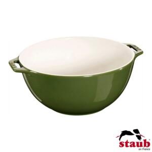 Bowl com Alças Staub Ceramic 25cm Verde Basil