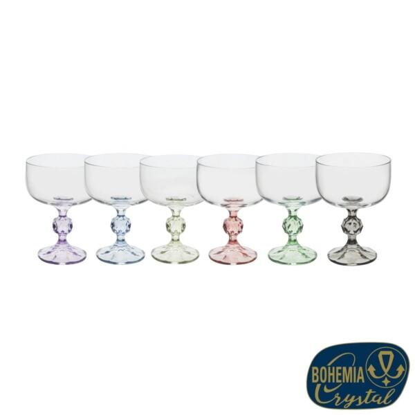 Cj. 6 Taças de Sobremesa 200ml Claudia Titanium Bohemia Crystal de Cristal