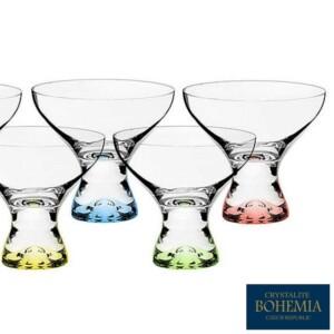 Cj. 6 Taças de Sobremesa 330ml Vega Titanium Bohemia Crystal de Cristal Colorido
