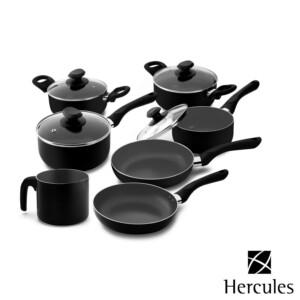 Cj. de Panelas 7 Peças Hercules de Alumínio Cor Preta