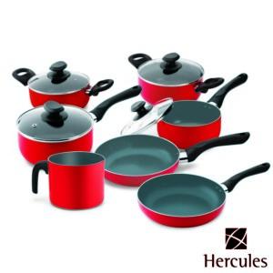 Cj. de Panelas 7 Peças Hercules de Alumínio Cor Vermelha