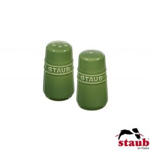 Cj. Mini Saleiro e Pimenteiro Staub Ceramic 7cm Verde Basil