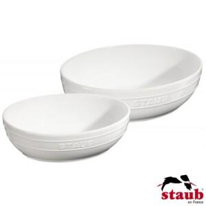 Cj. Multi Bowl Oval 2 Peças 23 e 27cm Staub Ceramic Branca