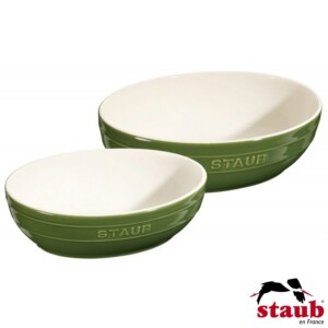 Cj. Multi Bowl Oval 2 Peças 23 e 27cm Staub Ceramic Verde Basil
