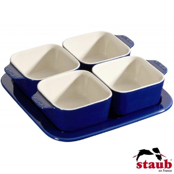 Cj. para Aperitivos Staub Ceramic Azul Marinho