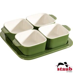 Cj. para Aperitivos Staub Ceramic Verde Basil
