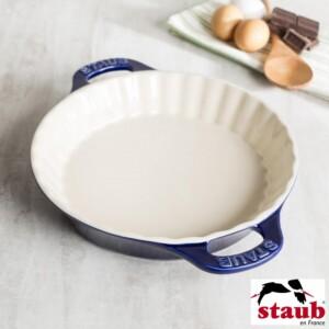 Fôrma para Torta 28cm Azul Marinho Staub Ceramic