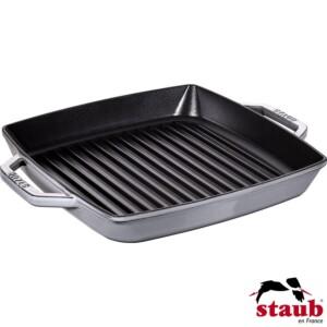 Grelha Quadrada 28cm com Alças Cinza Staub Grill Pans de Ferro Fundido