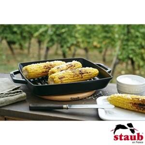 Grelha Quadrada 28cm com Alças Preta Staub Grill Pans de Ferro Fundido