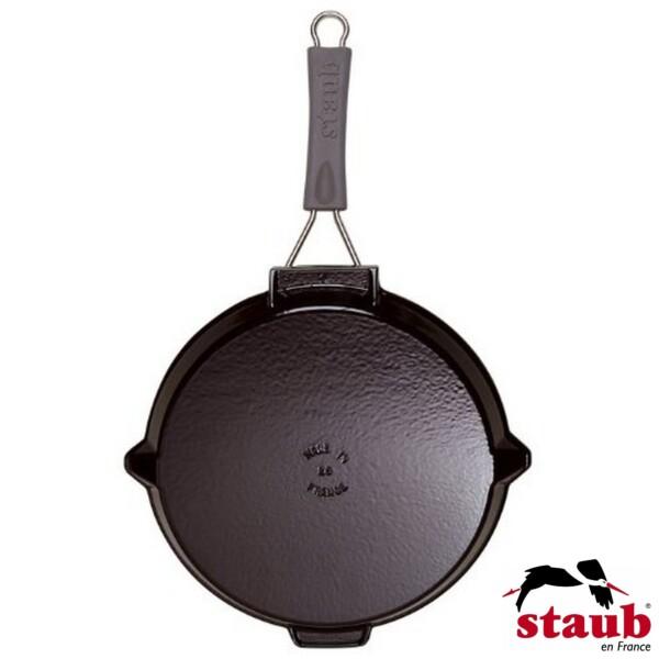 Grelha Redonda 27cm com Cabo de Silicone Removível Preta Staub Grill Pans de Ferro Fundido