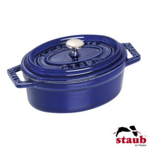 Mini Caçarola Oval 11cm Azul Marinho Staub Mini Cocotte de Ferro Fundido