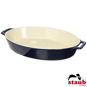 Travessa Oval 37cm Azul Marinho Staub Ceramic