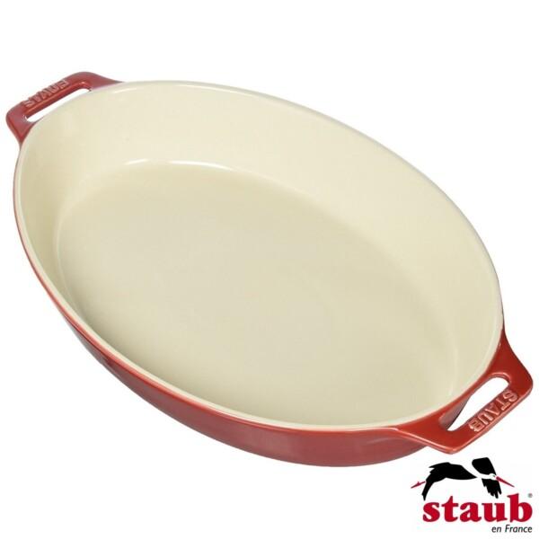 Travessa Oval 37cm Cereja Staub Ceramic