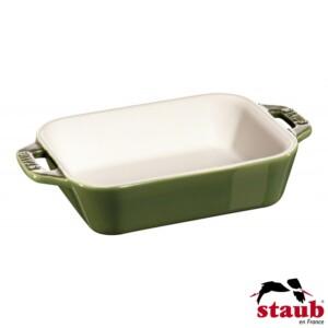 Mini Travessa Retangular 14x11cm Verde Basil Staub Ceramic