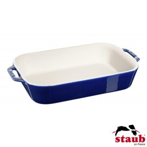 Travessa Retangular 34x24cm Azul Marinho Staub Ceramic