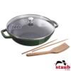 Wok com Tampa de Vidro 30cm Verde Basil Staub Specialties de Ferro Fundido
