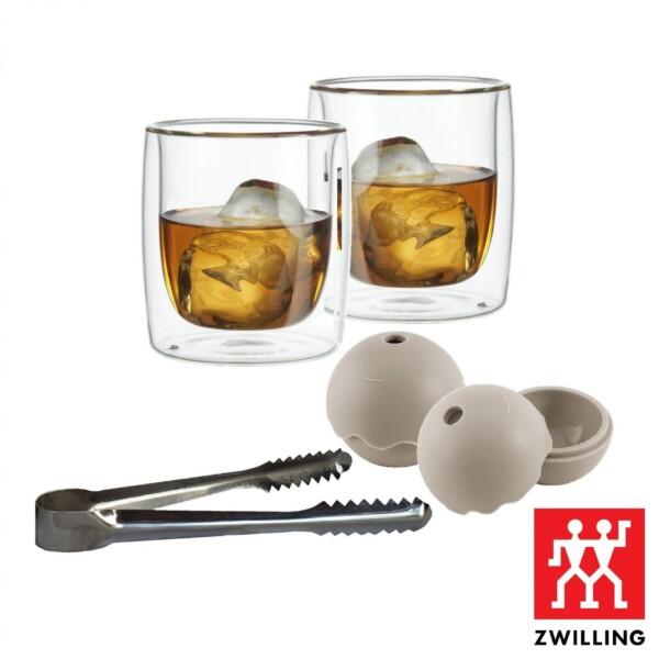 Kit Copos para Whisky Parede Dupla Zwilling Sorrento com Fôrma e Pegador de Gelo