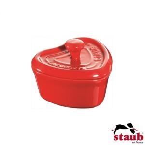 Mini Caçarola Coração Ceramic Staub Specialties Cereja 10cm