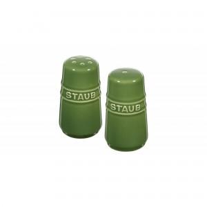 Mini Saleiro e Pimenteiro Verde Basil Staub Ceramic 7cm