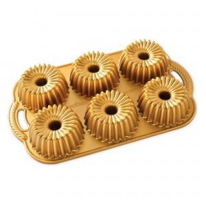 Fôrma para 6 Minibolos Nordic Ware Brilliance Bundtlette Retangular 38cm Dourada de Alumínio Fundido