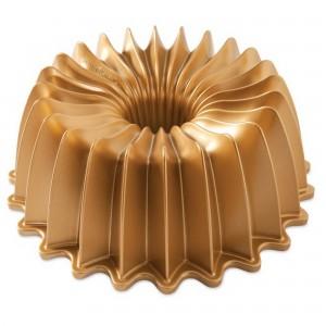 Fôrma para Bolo Nordic Ware Brilliance Bundt Redonda 26cm Dourada de Alumínio Fundido