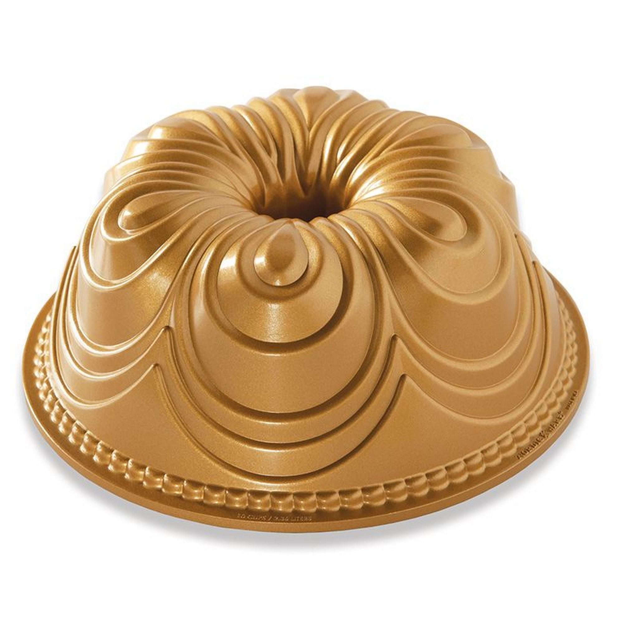 Fôrma para Bolo Nordic Ware Chiffon Bundt Redonda 25cm Dourada de Alumínio Fundido