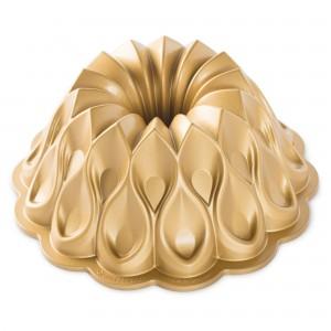 Fôrma para Bolo Nordic Ware Crown Redonda 26cm Dourada de Alumínio Fundido