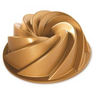 Fôrma para Bolo Nordic Ware Heritage Bundt Grande Redonda 25cm Dourada de Alumínio Fundido