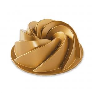 Fôrma para Bolo Nordic Ware Heritage Bundt Média Redonda 22cm Dourada de Alumínio Fundido
