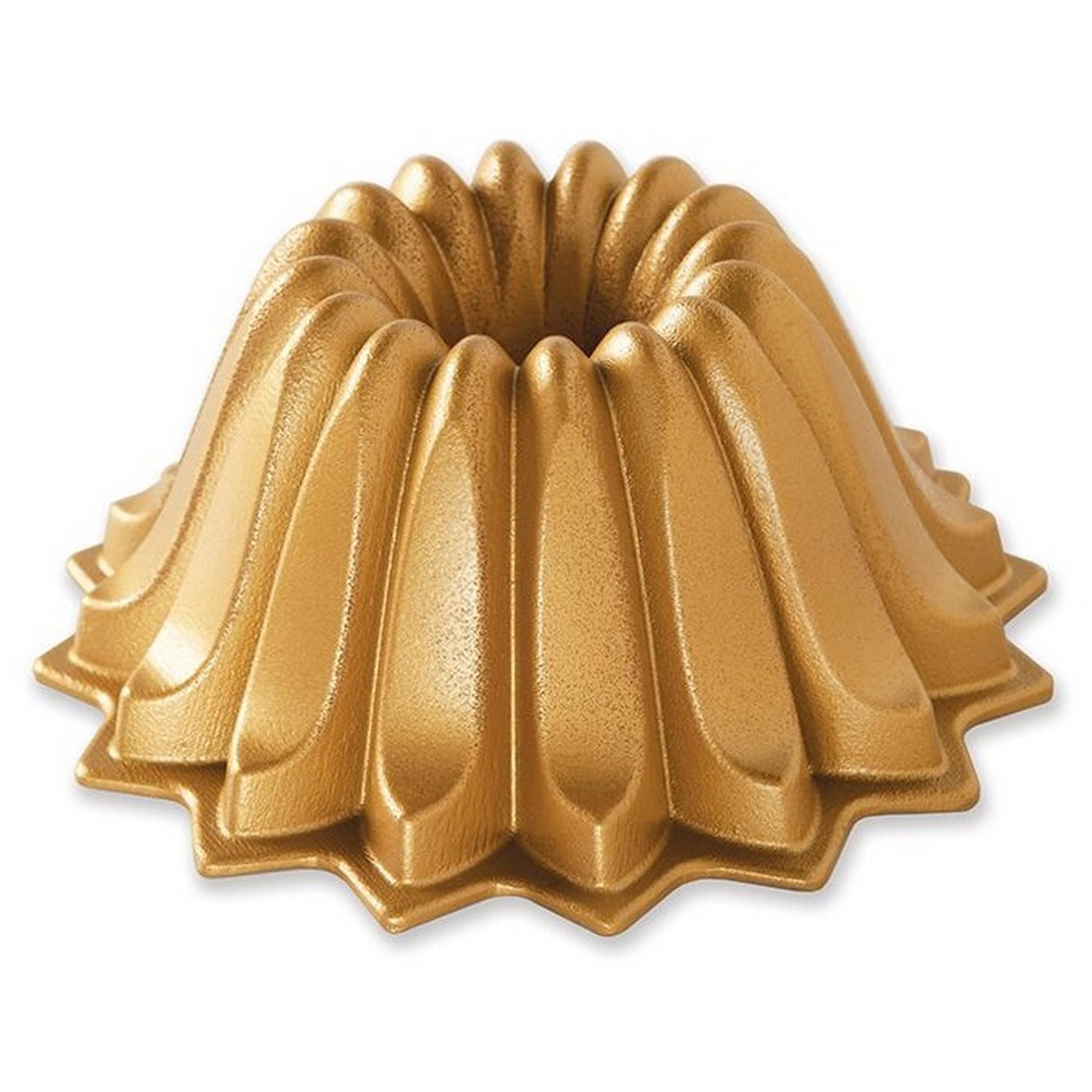 Fôrma para Bolo Nordic Ware Lotus Bundt Redonda 22cm Dourada de Alumínio Fundido