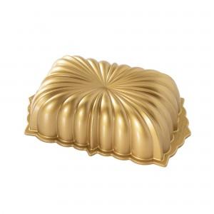 Fôrma para Pão e Bolo Nordic Ware Classic Fluted Retangular 25cm Dourada de Alumínio Fundido