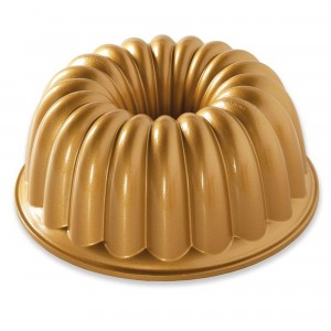 Fôrma para Bolo Nordic Ware Elegant Party Bundt Redonda 24cm Dourada de Alumínio Fundido
