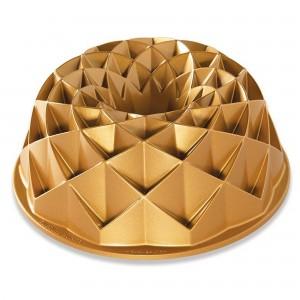 Fôrma para Bolo Nordic Ware Jubilee Bundt Redonda 24cm Dourada de Alumínio Fundido