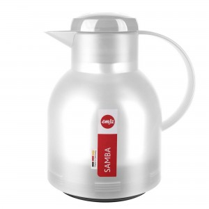 Garrafa Térmica Branca Translúcida Emsa Samba Quick Press 1 litro