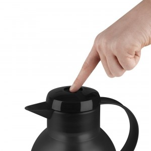 Garrafa Térmica Preta Translucida Emsa Samba Quick Press 1 litro