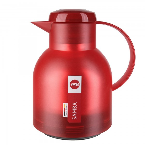Garrafa Térmica Vermelha Translúcida Emsa Samba Quick Press 1 litro