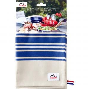 Pano de Cozinha Staub Branco com Azul 70x50cm de Algodão