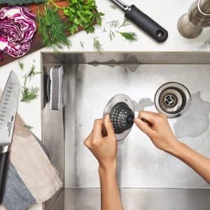 Ralo para Pia de Cozinha Oxo Good Grips de Aço Inox com Cesto de Silicone
