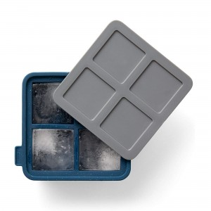 Forma de Gelo Rabbit King Cube 4 Cubos de Silicone Azul