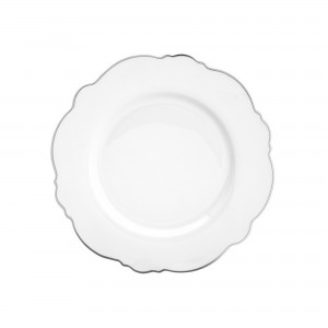 Prato de Sobremesa Wolff Maldivas Fio Prateado Branco 21cm 6 Peças de Porcelana